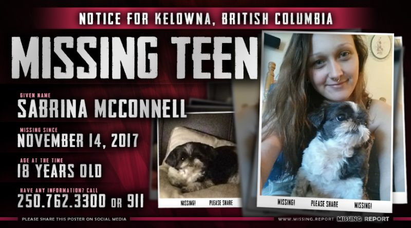 MISSING PERSON • Sabrina McConnell • Kelowna, British Columbia • 18 Years Old