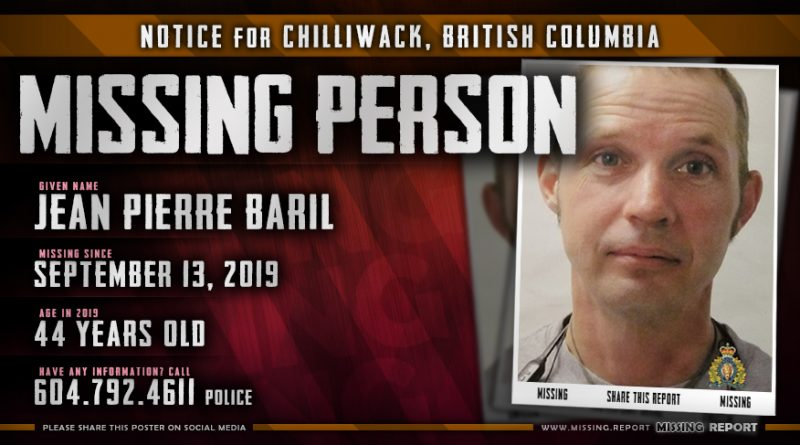 Jean Pierre Baril Missing Person Chilliwack British Columbia Canada Poster