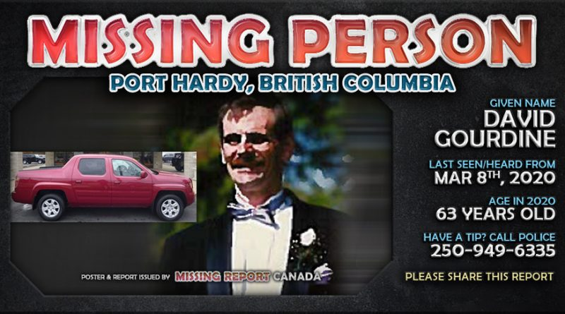 David Gourdine - Missing Person - Port Hardy, British Columbia Poster