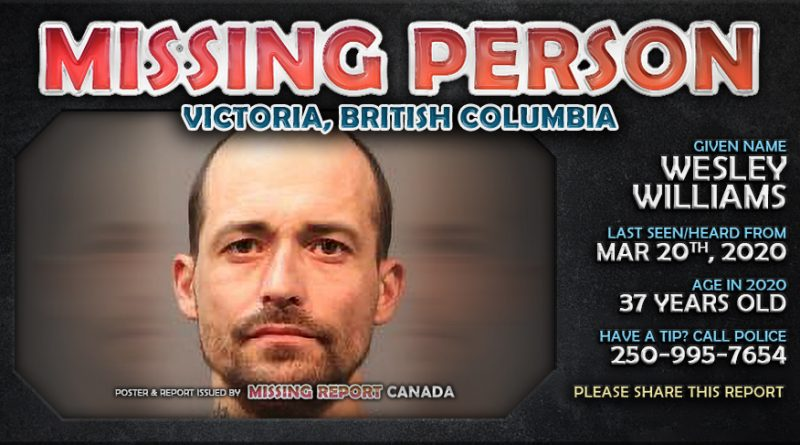 Wesley Williams - Missing Person - Victoria, British Columbia Poster